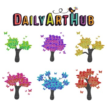 Butterfly Trees Art Clip Art - Great for Art Class Projects!