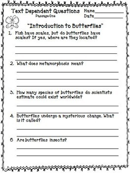 Butterfly Unit ~ Close Reading ~ Text Dependent Questions