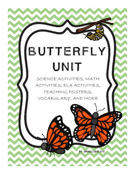 Butterfly Unit - Posters, Vocab, No-Prep Printables, Writi