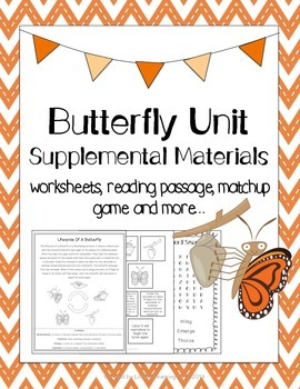 Butterfly Unit Supplemental Materials: worksheets, reading passage + more