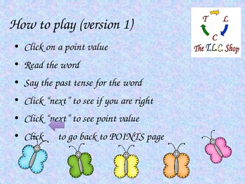 {DISCOUNTED ITEM} Butterfly Verbs PPT Game