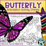 Butterfly Word & Picture Match: Articulation Activity