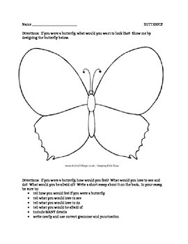 Butterfly Writing Activity