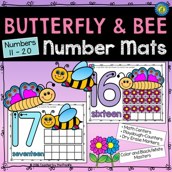 Butterfly and Bee Number Counting Mats 11-20 {SPRING MATH}