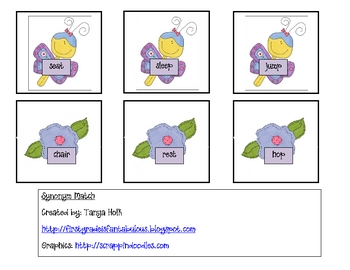 Butterfly and Flower Synonym Match {FREEBIE}