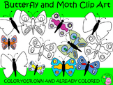 ~Butterfly and Moth Clip Art~ Color your Own and Already C