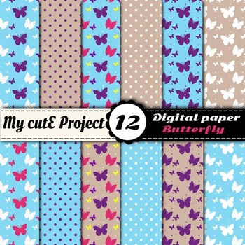 Butterfly and polka dots Digital Paper Pack - Blue digital paper - Scrapbooking