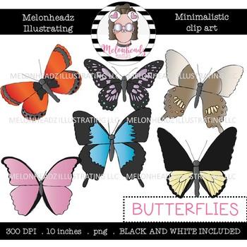 Butterfly clip art - Minimal Style - Mini - Melonheadz Clipart