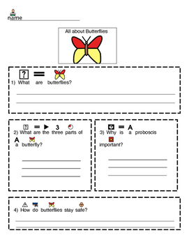 Butterfly guided notes bundle for BrainPop Jr. Video
