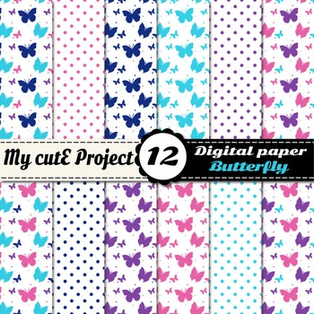 Butterfly in pink, purple and blue DIGITAL PAPER - Scrapbooking butterflies