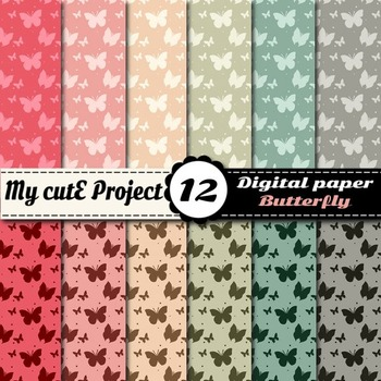 Butterfly in soft colors DIGITAL PAPER - Butterflies scrapbook papers