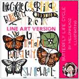 Butterfly life cycle clip art - LINE ART- by Melonheadz