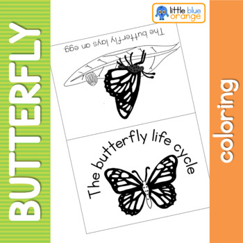 Butterfly life cycle coloring booklet