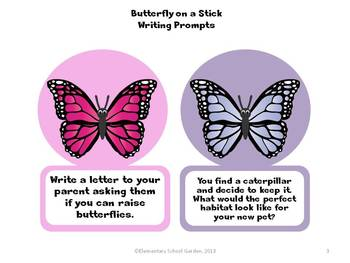 Butterfly on a Stick - Summer Writing Prompts and Stationary