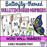 Butterfly-themed Bulletin Board Numbers Set with Editable Cards