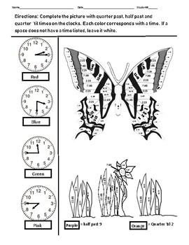Butterfly telling time puzzle