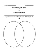 Butterfly vs. Frog Life Cycle Venn Diagram