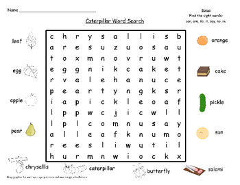 Butterfly/Caterpillar Word Search and Word Building
