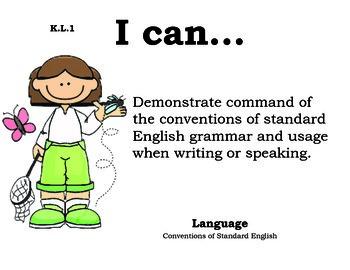 ButterflyKids Kindergarten English Common core standards posters