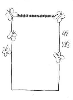 Butterlies Spring Writing/Drawing border/frame