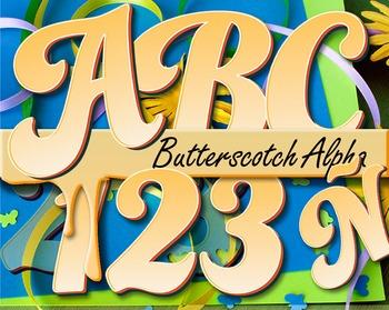 "Butterscotch Alphabet Clip Art /  97 pcs - 3.5"" High, Vector PDF and PNGs"
