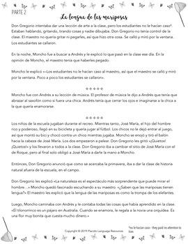 Butterfly / La lengua de las mariposas Spanish READINGS & ACTIVITIES