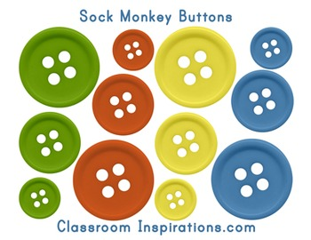 Button Accents – Coordinates with Sock Monkey Classroom Theme