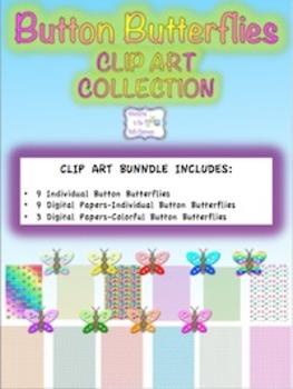 Button Butterflies Clip Art Collection