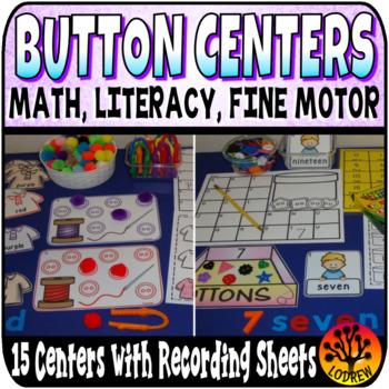 Button Centers Activities Literacy Math Fine Motor Beginning Sounds More Less