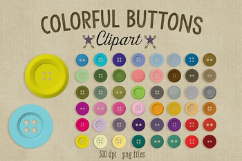 Button Clipart, Set of 50 Colorful Buttons