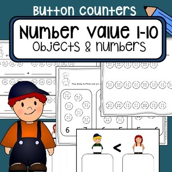 Number value counting 1-10 - Button counters - Math center worksheets