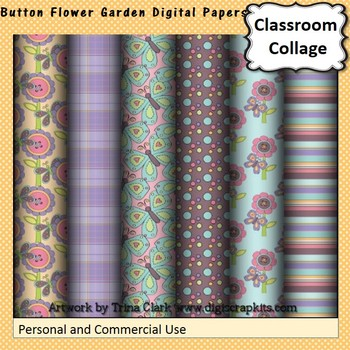 Button Flower Garden Digital Papers Set  personal & commer