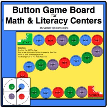 Button Game Board-Editable for Dolch Words & More! (Pete the Cat theme)