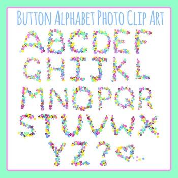 Button Letters / Alphabets Photo / Photograph Clip Art Set for Commercial Use