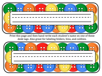 Button Editable Name Tags for Desks, Signs, Labels (Pete the Cat theme inspired)