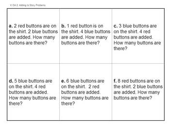 Button Story Problems - Kindergarten Common Core