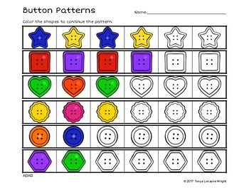 Button Themed Color Patterns No-Prep Worksheet