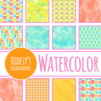 Button Watercolor Digital Papers / Backgrounds Clip Art Set for Commercial Use