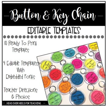 Button and Key Chain Templates {Ready to Print & Editable}