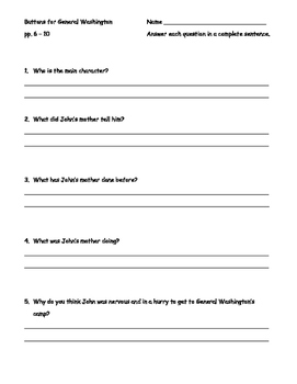 Button's for General Washington Comprehension Questions
