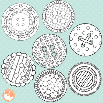 Button stamps, black line, commercial use, vector graphics, images  - DS326