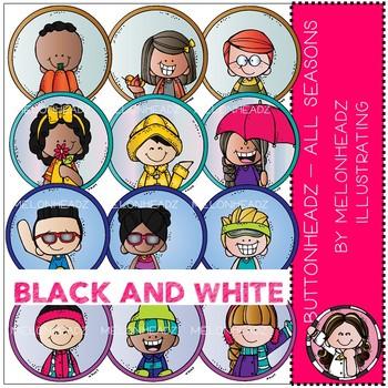 Buttonheadz - All Seasons clip art - by Melonheadz - Black and White