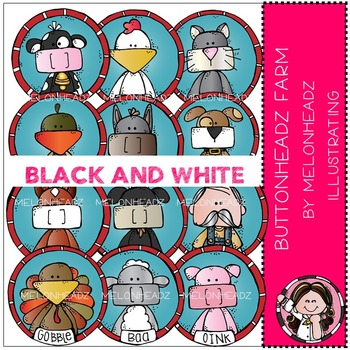 Melonheadz: Buttonheadz Farm clip art - BLACK AND WHITE