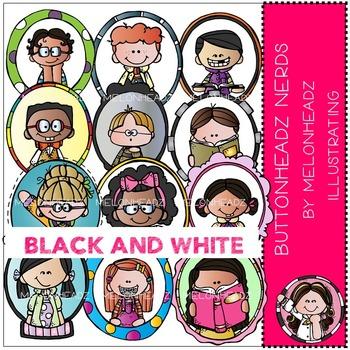 Melonheadz: Buttonheadz Nerds clip art - BLACK AND WHITE