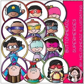 Melonheadz: Buttonheadz Superheroes clip art