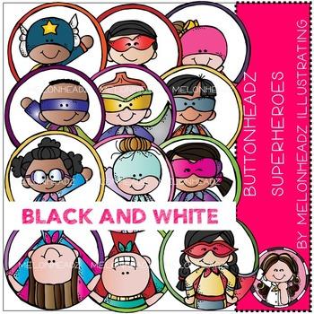 Melonheadz: Buttonheadz Superheroes clip art - BLACK AND WHITE