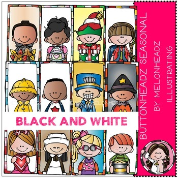Melonheadz: Buttonheadz seasonal clip art -  BLACK AND WHITE