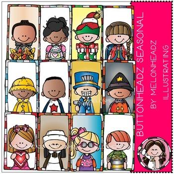 Buttonheadz seasonal clip art - COMBO PACK- by Melonheadz
