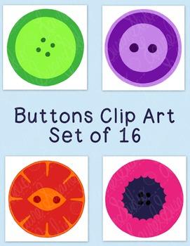 Buttons Clip Art Bundle PNG JPG Blackline Commercial Personal