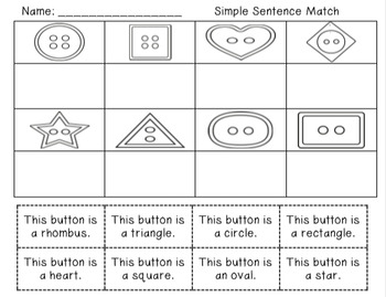 Buttons Literacy and Math Unit: Emergent Readers, Center Activities and More